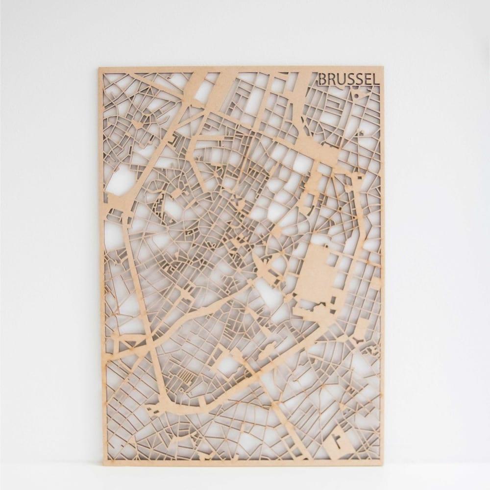 PlanqKaart Houten Stadskaart Brussel