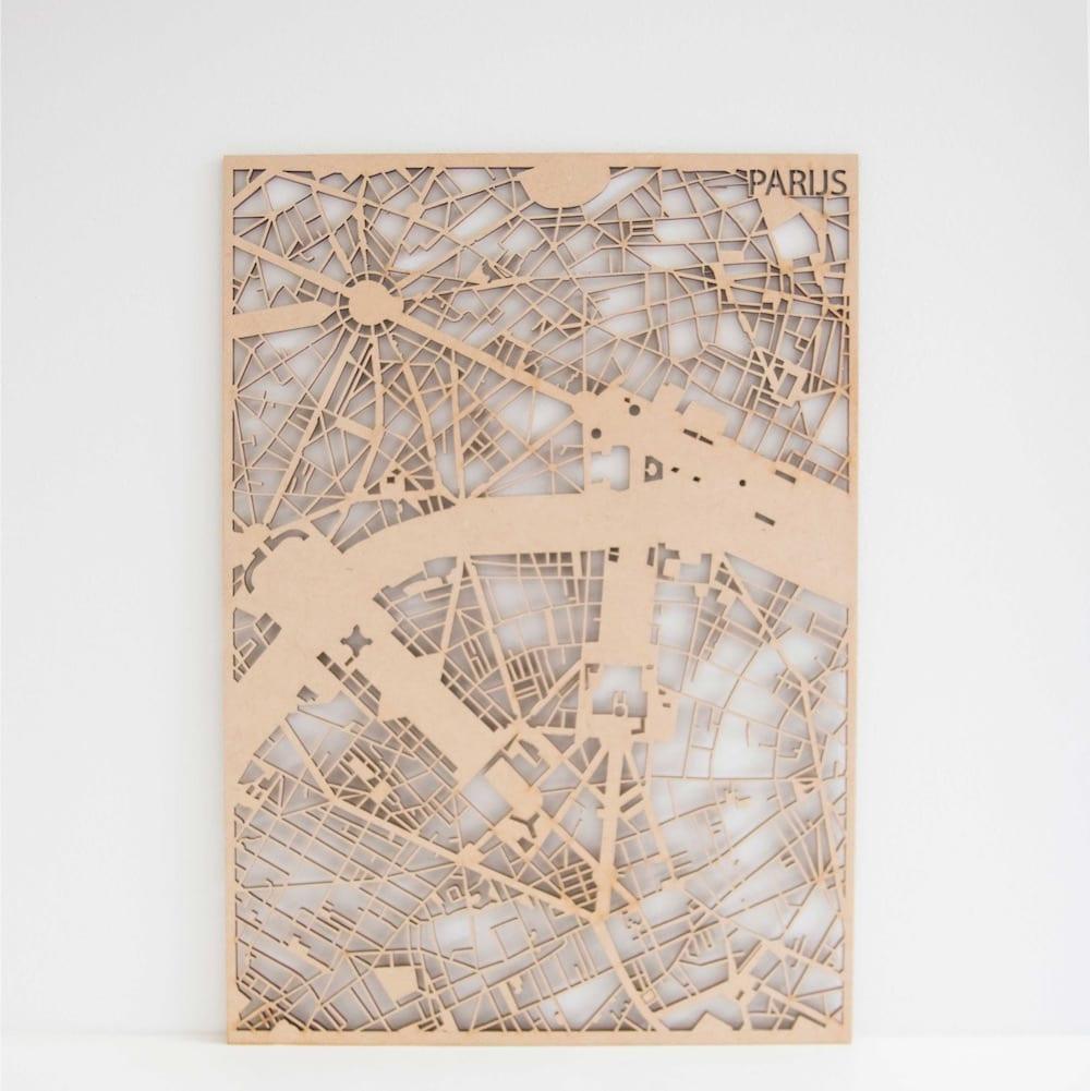 Houten Stadskaart Parijs