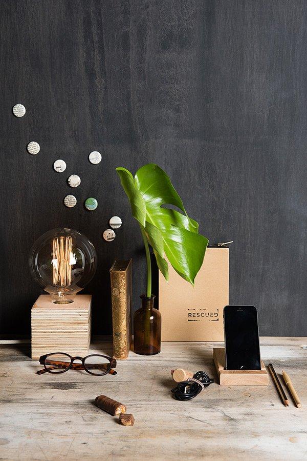Tafellamp bureaulamp duurzaam hout Rescued
