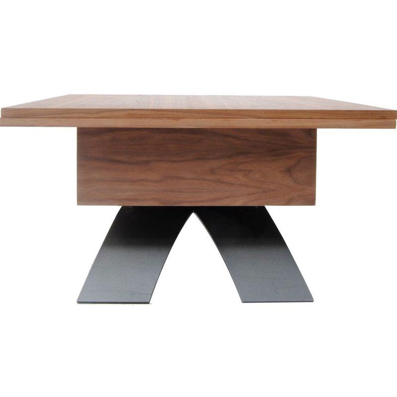 Salontafel en eettafel ineen van hout en staal