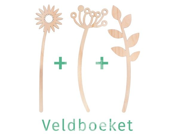Lente boeket van drie houten bloemen