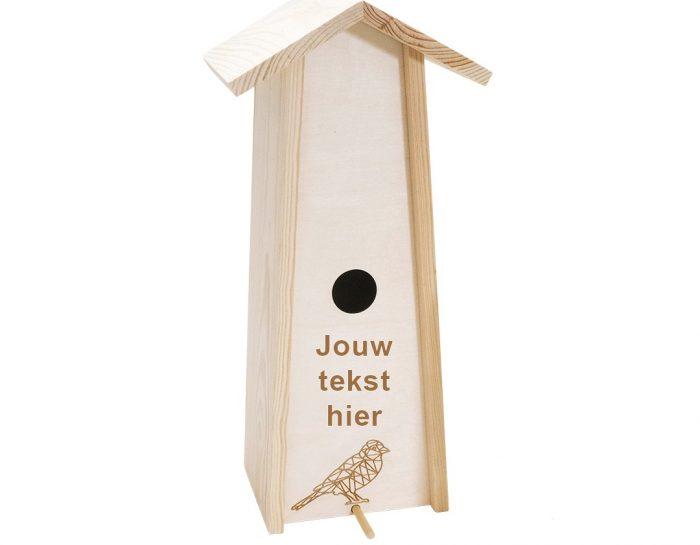 Wijnkist hout vogelhuis recycle met tekst Studio Perspective