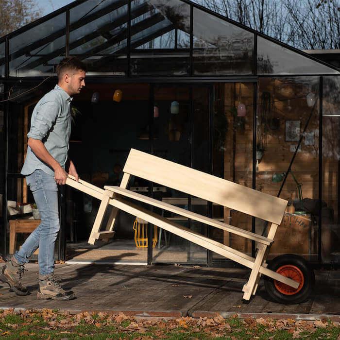Weltevree wheelbench tuinbank met wiel
