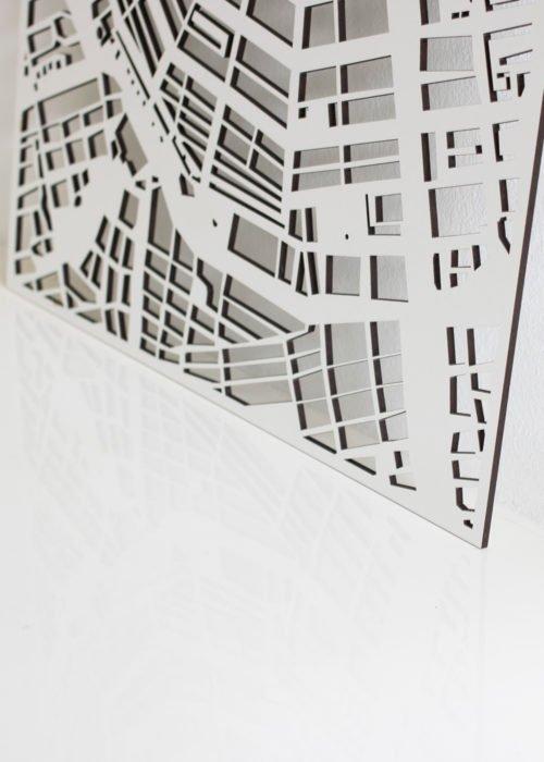 Witte Stadskaart PlanqKaart op maat bij Studio Perspective