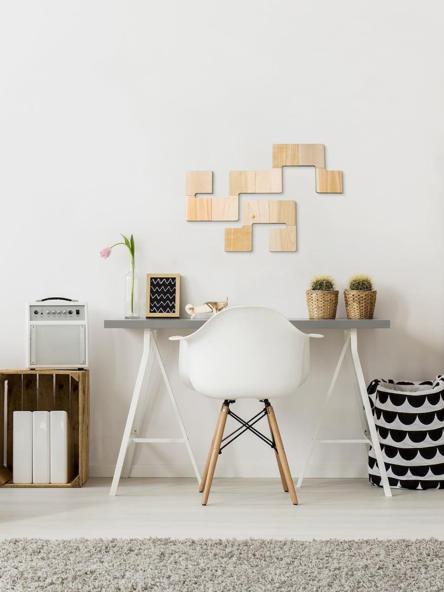 originele muurdecoratie Wallies houten wandtegels bij Studio Perspective