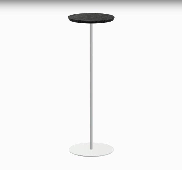 zwarte bijzettafel met wit onderstel duurzaam design op maat Studio Perspective