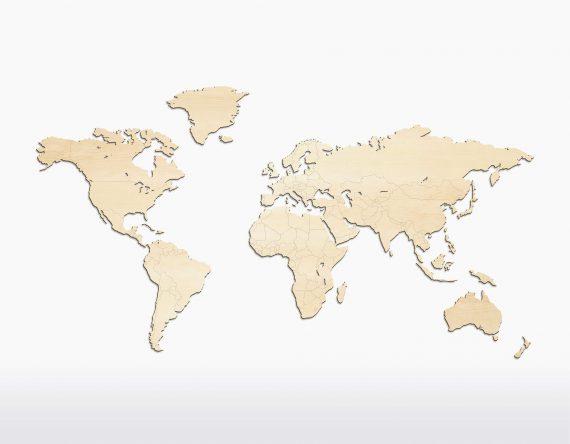 Houten wereldkaart Wooden Amsterdam Esdoor bij Studio Perspective