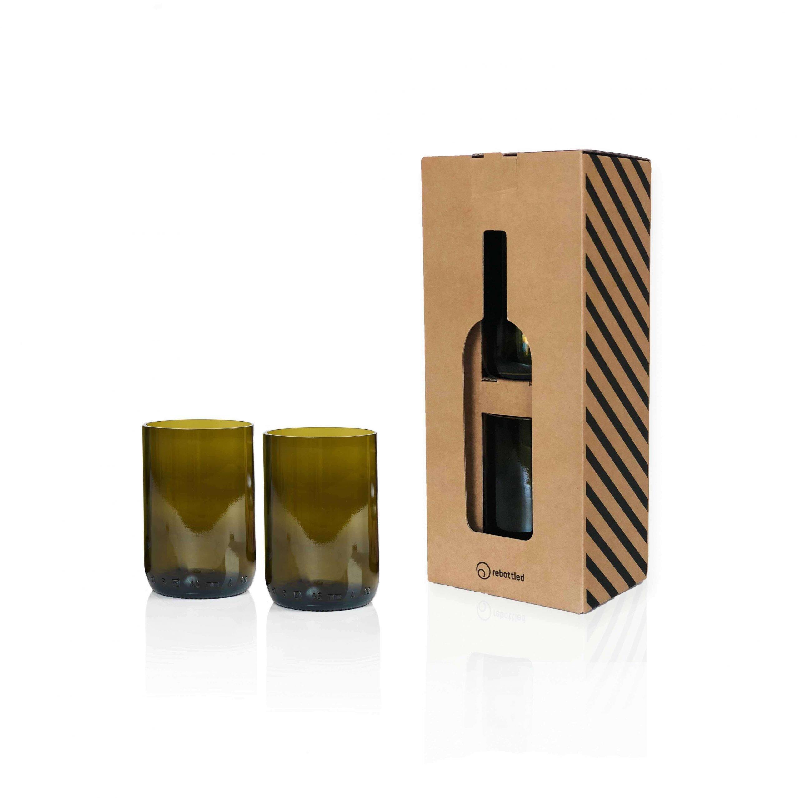Rebottled 2 glazen helder longdrink duurzaam geschenk Studio Perspective