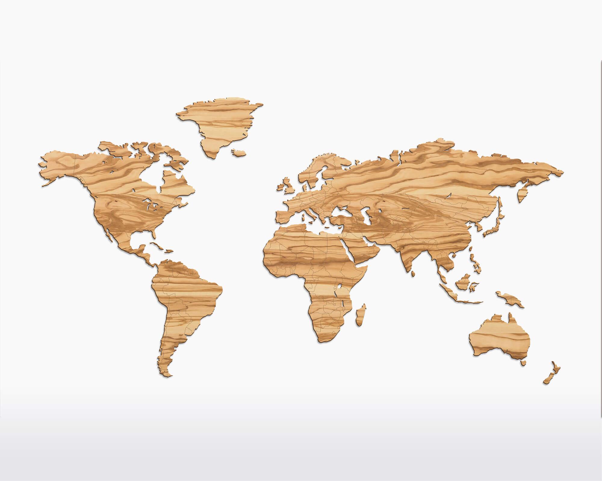 Wereldkaart Olijfhout Duurzaam Wooden Amsterdam bij Studio Perspective