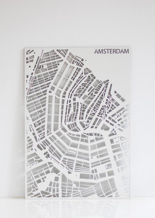 Houten Stadskaart Wit Maatwerk
