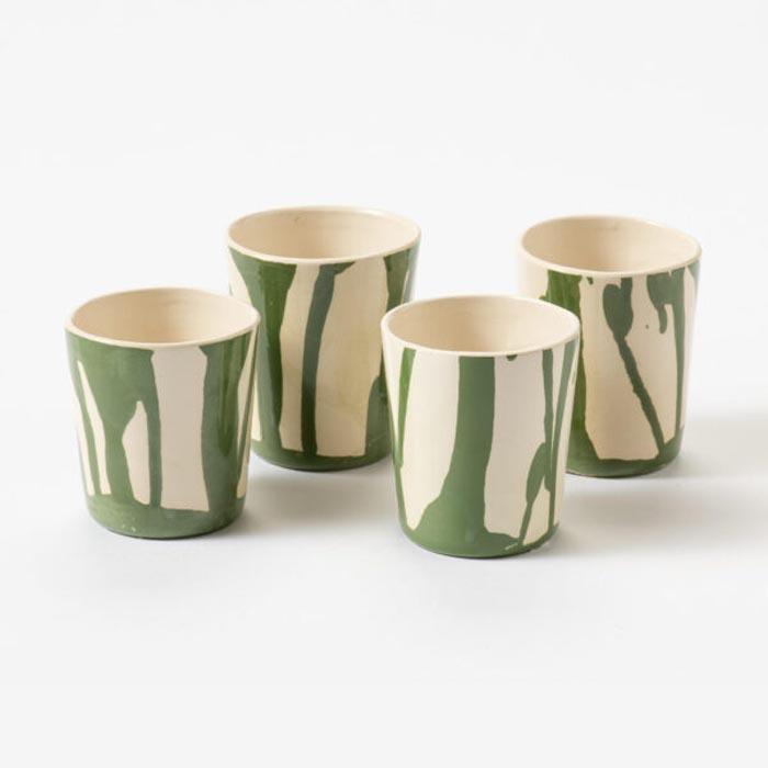 Koffiekopjes groen handgemaakt servies Studio Perspective
