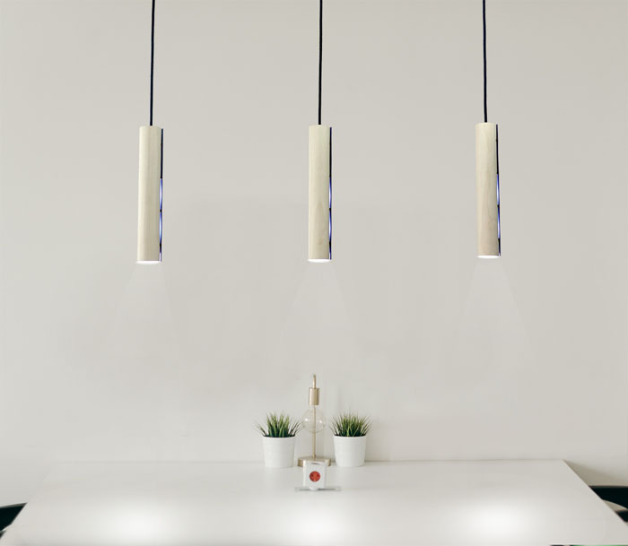Pendellamp plafond drie stuks Sycomore houtfineer wit