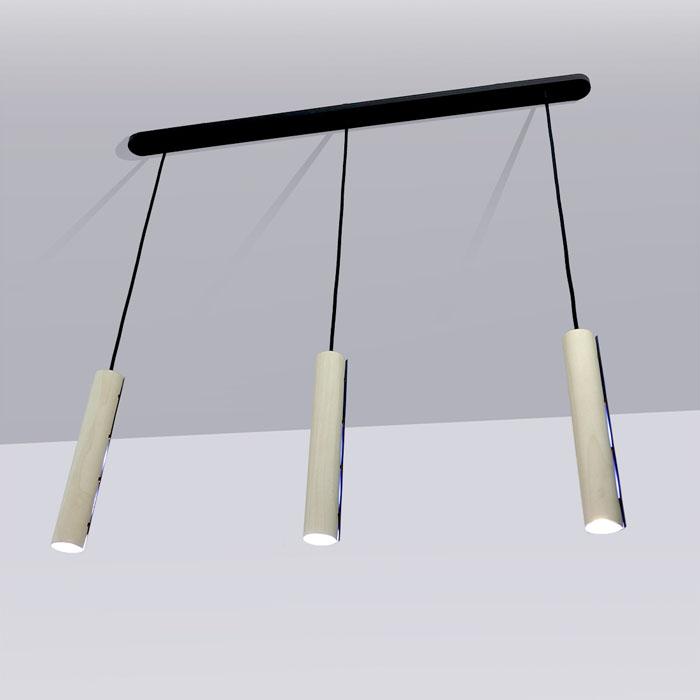 Tri Pendellamp plafond Sycomore houtfineer wit