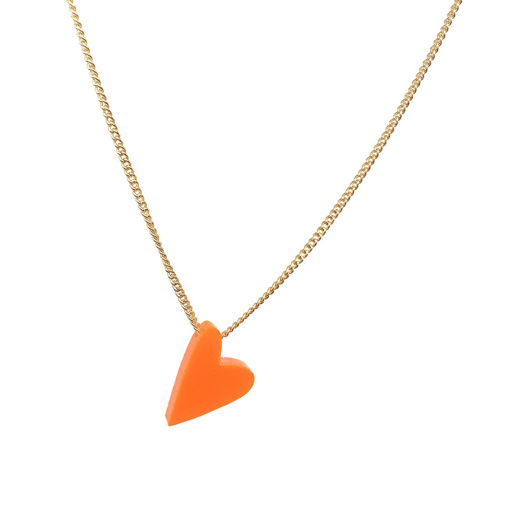 one heart ketting neon rood