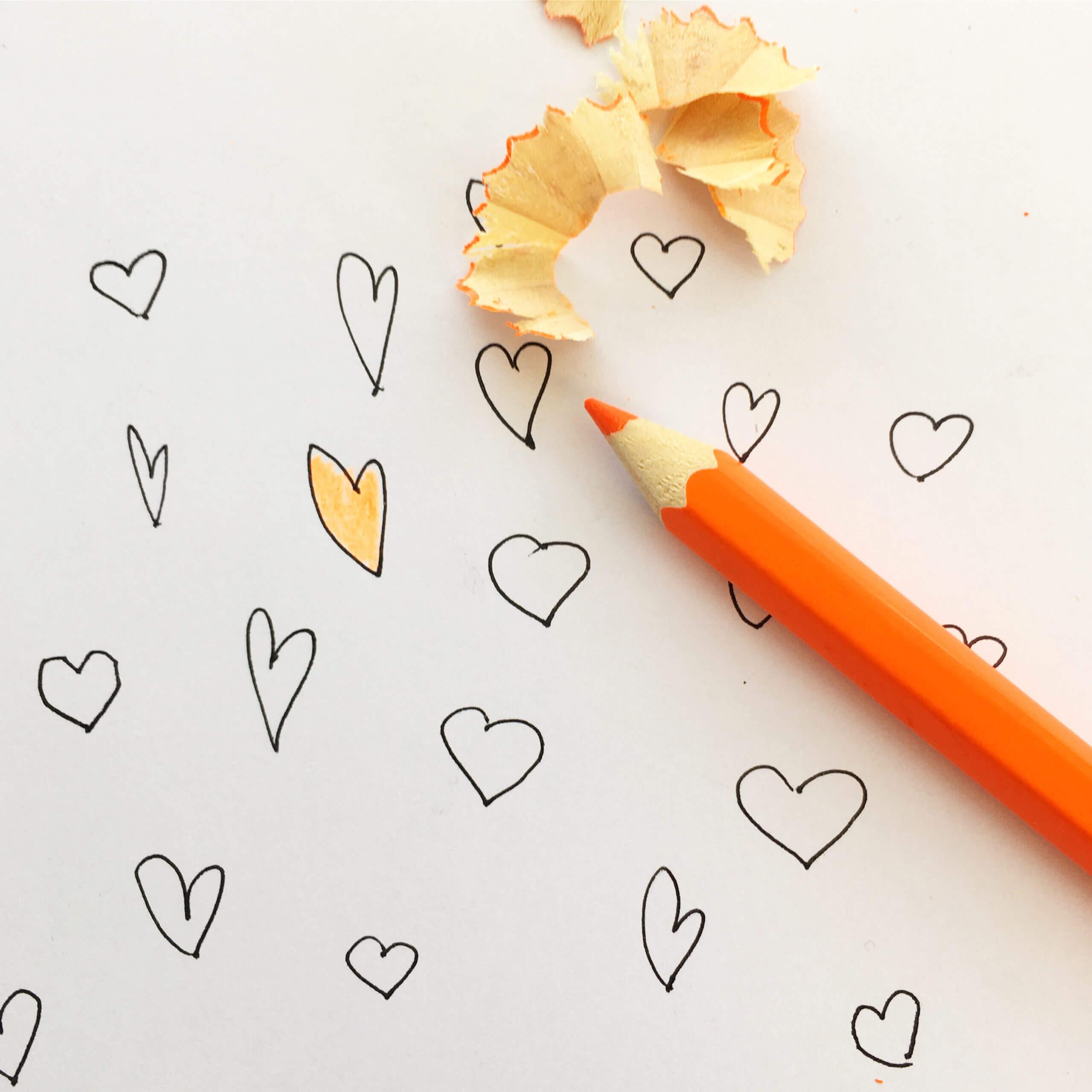 getekende hartjes voor een ketting