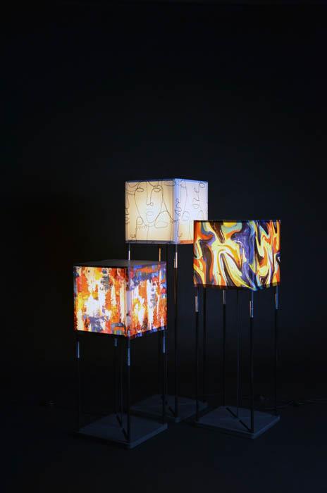 Vloerlampen met gekleurde wikkels